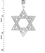 "White Gold Jewish Star of David Pendant (L) 2.2"""