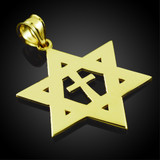 Yellow Gold High Polished Star of David with Cross Pendant