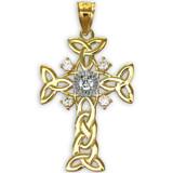 Two-Tone Gold Celtic Knot Trinity Cross Diamond Pendant Necklace