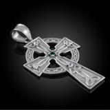 White Gold Celtic Trinity Diamond Cross Pendant Necklace with Emerald