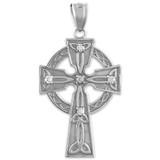 Solid White Gold Celtic Trinity Cross Diamond Pendant Necklace