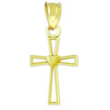 Gold Heart Cross Charm Pendant Necklace