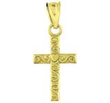 Gold Twirl Cross Charm Pendant Necklace