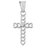 White Gold Open Hearts Cross Charm Pendant Necklace