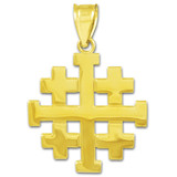 """Polished Jerusalem """"Crusaders"""" Cross Pendant Necklace in Gold (Yellow/ Rose/ White)"""