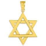 Polished Gold Star of David Pendant Necklace