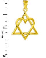"Yellow Gold Star of David Heart Large Pendant (1.4"")"