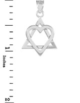 "White Gold Star of David Heart Medium Pendant (1.1"")"