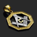 Two-Tone Gold Freemason Octagonal Masonic Pendant