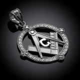 Sterling Silver Freemason Round Masonic CZ Pendant Necklace