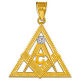 Yellow Gold Triangle Freemason Diamond Masonic Pendant Necklace