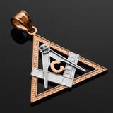 Two-Tone Rose Gold Triangle Freemason Diamond Masonic Pendant Necklace