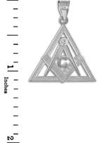 White Gold Triangle Freemason Diamond Masonic Pendant Necklace
