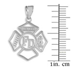White Gold Fireman Open Badge Pendant Necklace