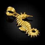 Gold Seahorse Charm Pendant