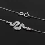 14K White Gold Diamond Snake Sideways Pendant Necklace with Ruby Accents
