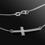 Sterling Silver Small Sideways Curved Diamond Cross Necklace