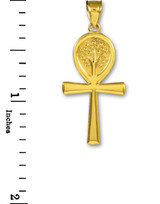 Yellow Gold Ankh Cross Tree of Life Pendant Necklace