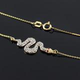 14K Gold Snake CZ Pendant Necklace