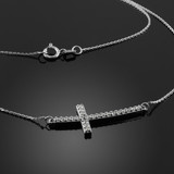 14K White Gold Sideways Curved Cross CZ Pendant Necklace
