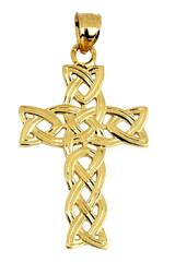 Gold Irish Trinity Cross Pendant Necklace