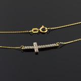 14K Gold Sideways Curved Cross Cute CZ Necklace