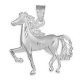 Satin Finish Diamond Cut Silver Horse Charm Pendant Necklace