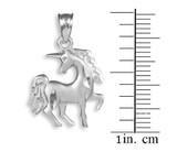 Satin Finish Diamond Cut White Gold Unicorn Charm Pendant Necklace