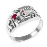 Men's Sterling Silver Red CZ Scorpion Ring
