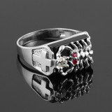 Men's Sterling Silver Black Onyx Scorpion Ring with Cross
