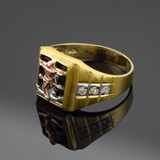 Tri-Tone Gold Crucifix & Anchor Black Onyx Mens CZ Ring