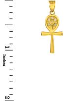 Yellow Gold Ankh Cross Tree of Life CZ Pendant Necklace
