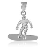 White Gold Surfer Charm Sports Pendant Necklace