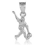 White Gold Bowling Man Charm Sports Pendant Necklace