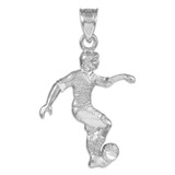 Silver Soccer Player Charm Sports Pendant Necklace