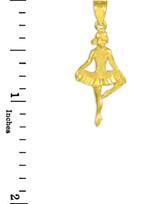 Gold Ballet Dance Charm Pendant Necklace