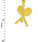 Tennis Racquets and Ball Gold Charm Sports Pendant Necklace