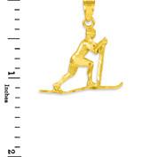Gold Skier Pendant Necklace