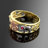 """Tri-Tone Gold """"15 Anos""""  Quinceanera CZ Ring with Elephants"""
