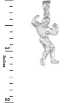 Full Bodybuilder White Gold Sports Pendant Necklace