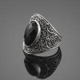 Black Onyx Silver Statement Ring
