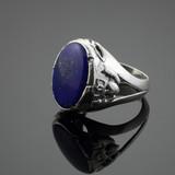 Blue Stone Claddagh Silver Ring
