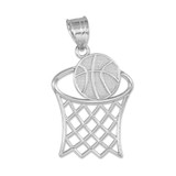 Silver Basketball Hoop Charm Pendant Necklace