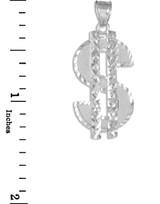 White Gold Dollar Sign Pendant