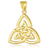 Gold Triquetra Trinity Knot Pendant Necklace