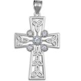 Sterling Silver Celtic Cross Trinity Knot Diamond Pendant Necklace