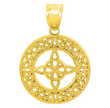 Gold Round Trinity Knot Pendant Necklace