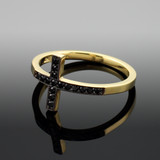 Gold Sideways Cross Ring with Black Diamonds