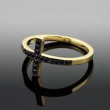 Gold Sideways Cross Black Zirconia Ring