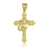 Gold US Marine Christian Cross Charm Pendant Necklace
